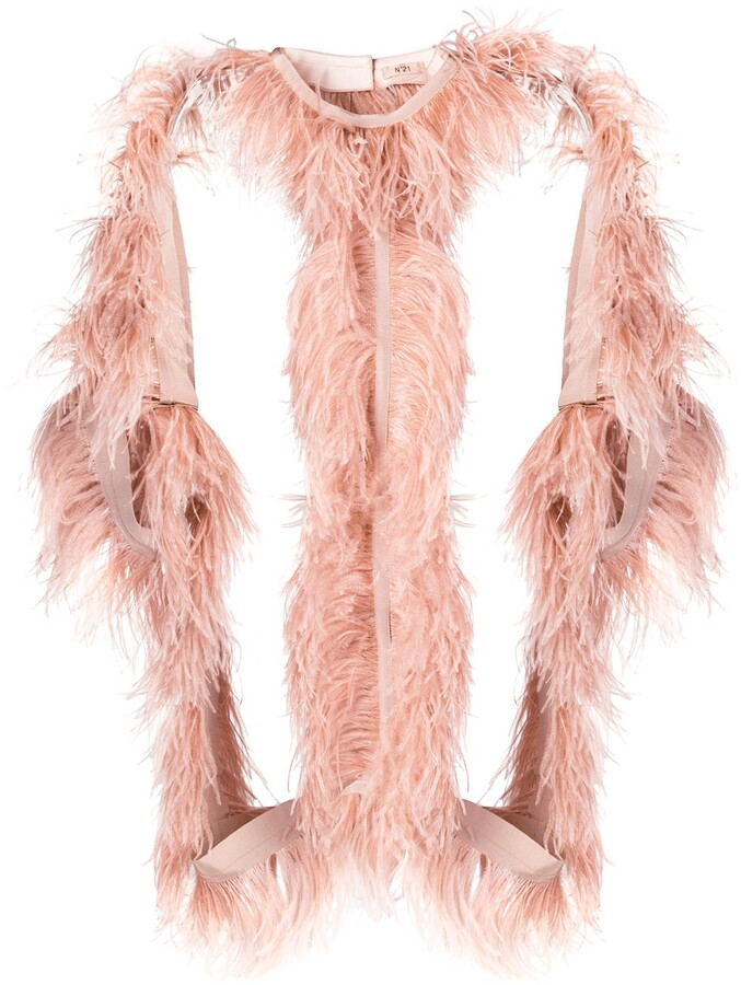 No.21 Structured Jacket With Ostrich Feather