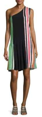 Diane von Furstenberg One Shoulder Striped Silk Dress