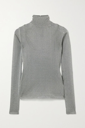 Max Mara Pietra Metallic Stretch-knit Turtleneck Sweater - Dark gray
