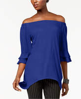 NY Collection Off-The-Shoulder Hankderchief-Hem Top