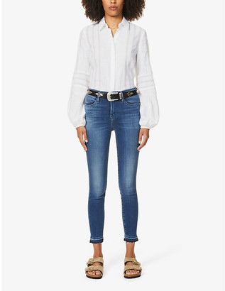 Frame Organic Ladies Blue Cotton Le High Cropped High-Rise Skinny Jeans, Size: 23