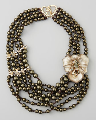 Alexis Bittar Neo Boho Manmade Pearl Floral Necklace