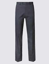 M&S Collection Tailored Fit Textured Flat Front Trousers