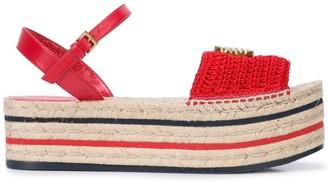Gucci Logo Platform Espadrille Sandals