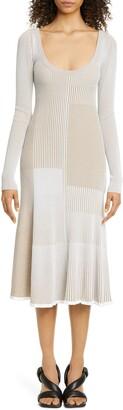 Proenza Schouler Rib Patchwork Knit Long Sleeve Dress