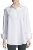 Joseph Emile Oversized Button-Front Poplin Blouse, White