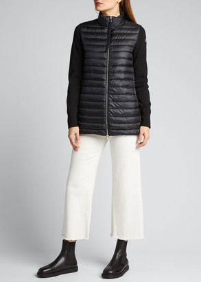 Moncler Long Knit-Sleeve Down Combo Jacket