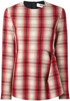 MSGM gathered plaid blouse - women - Polyester/Virgin Wool - 38