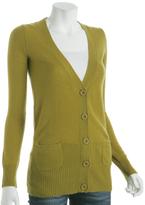 chartreuse cashmere long v-neck cardigan