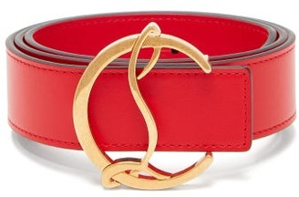Christian Louboutin Monogram-buckle Leather Belt - Red
