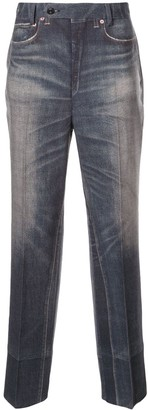 Junya Watanabe Denim-Print Straight Leg Trousers