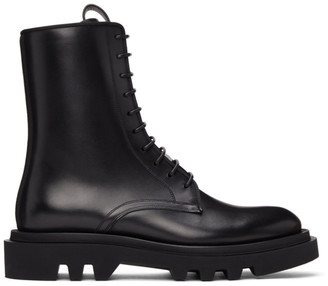 Givenchy Black Leather Combat Lace-Up Boots