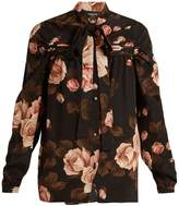 Rochas Rose-print tie-neck silk-charmeuse top