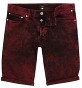 River Island Red Acid Wash Skinny Fit Denim Shorts