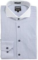 Neiman Marcus Trim-Fit Dobby Grid Dress Shirt, Blue