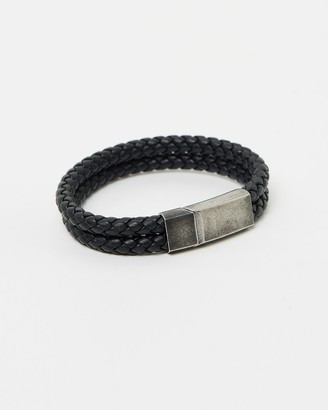 Kavalri Double Leather Weave Bracelet - Aged Steel Clasp