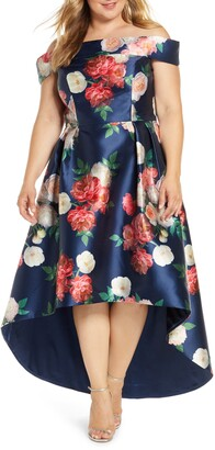 Chi Chi London Curve Kerris Floral Off the Shoulder High/Low Satin Gown