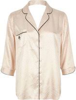 River Island Womens Cream jacquard pajama shirt