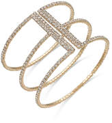 INC International Concepts Gold-Tone Crystal Triple Row Flex Bracelet, Created for Macy's