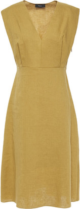 Theory Pleated Linen Dress
