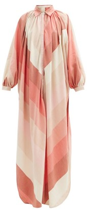 Marrakshi Life - Gathered Striped Cotton-blend Tunic Shirt Dress - Pink Stripe