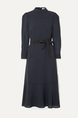 Cefinn Romy Belted Voile Midi Dress - Navy