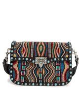 Valentino Rockstud Rolling Beaded Shoulder Bag With Embroidered Guitar Strap - Black