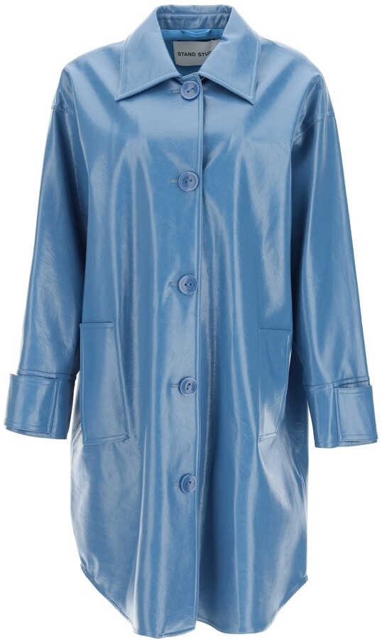 Thumbnail for your product : Stand KALI FAUX LEATHER COAT 38 Blue Faux leather