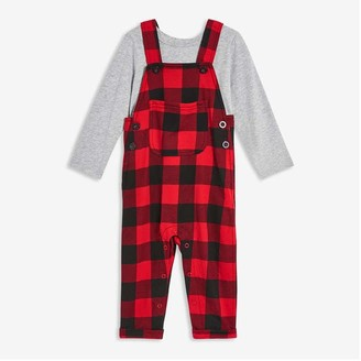 Joe Fresh Baby Boys' Plaid Romper and Tee Set, Red (Size 3-6)