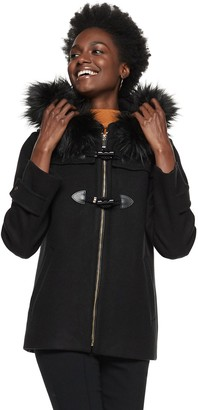 Nine West Petite Hooded Faux-Fur Trim Toggle Coat