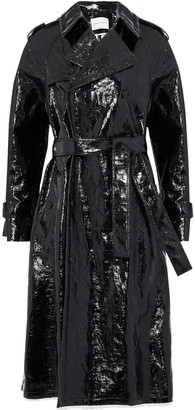 Sonia Rykiel Double-breasted Crinkled Coated Cotton-blend Trench Coat