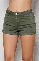 PacSun Dusty Green Super Stretch Denim Shorts