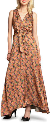 Eva Franco Venice Printed Tie-Waist Long Dress