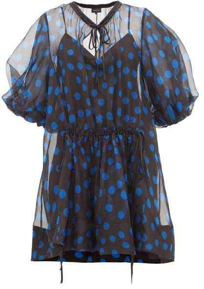 Lee Mathews - Rayne Puff-sleeve Polka-dot Organza Mini Dress - Womens - Black Navy