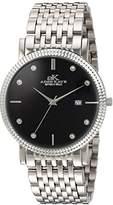 Adee Kaye Men's Quartz Stainless Steel Dress Watch, Color:Silver-Toned (Model: AK4801-M/BK)