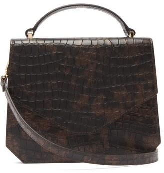 Emilia Wickstead Apollonia Crocodile-effect Leather Cross-body Bag - Womens - Brown