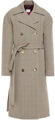 Magda Butrym Hammond Double-breasted Belted Houndstooth Wool Coat
