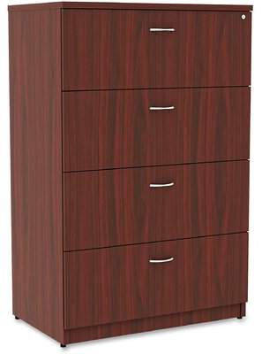 Lorell Essentials 4-Drawer Lateral Filing Cabinet Lorell Finish: Mahogany