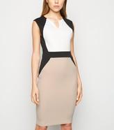 New Look Colour Block Notch Neck Bodycon Dress