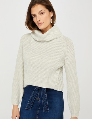 Under Armour Farley Cowl Neck Knit Jumper with Wool and Recycled Polyester Natural