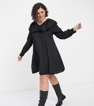 Daisy Street Plus long sleeve mini smock dress with collar and lace trim in poplin