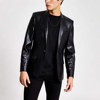 River Island Smart Western faux leather skinny fit blazer