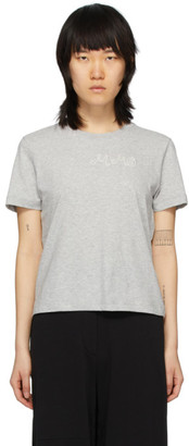 MM6 MAISON MARGIELA Grey Embroidered Logo Fitted T-Shirt