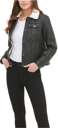 Levi's Women Sherpa Lined Faux Leather Trucker Jacket