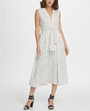 DKNY Striped Tie Waist Sleeveless Shirtdress
