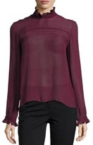 Saloni Emile-D Ruffle Long-Sleeve Top, Dark Plum