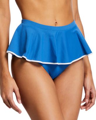 Marysia Swim Piana High-Waist Peplum Skirted Bikini Bottoms