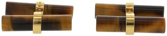 Van Cleef & Arpels 1970s Pre-Owned Cylindrical Tiger Eye And Yellow Gold Cufflinks