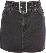 Topshop MOTO Buckle Belt Denim Mini Skirt