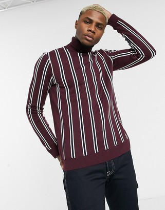 Topman roll neck jumper with vertical stripe in burgundy-Red